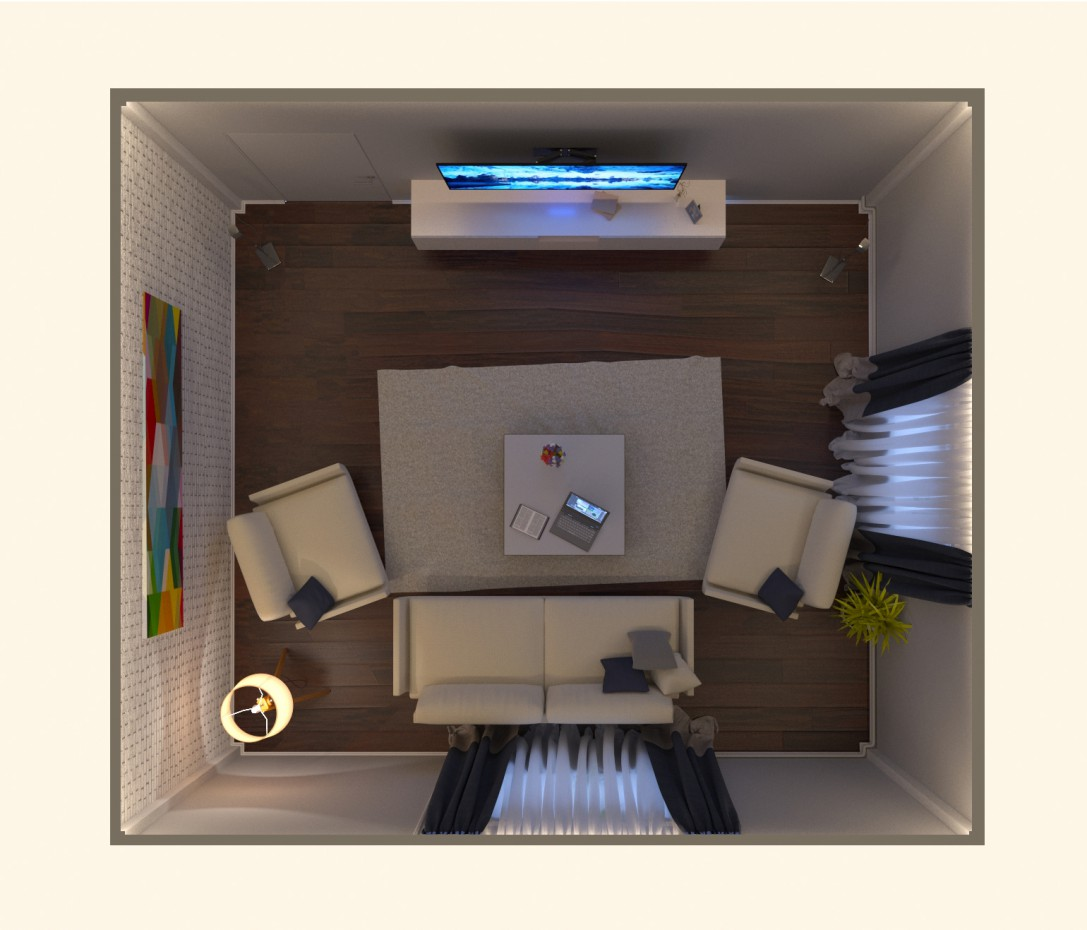 Вітальня - мінімалізм в 3d max corona render зображення