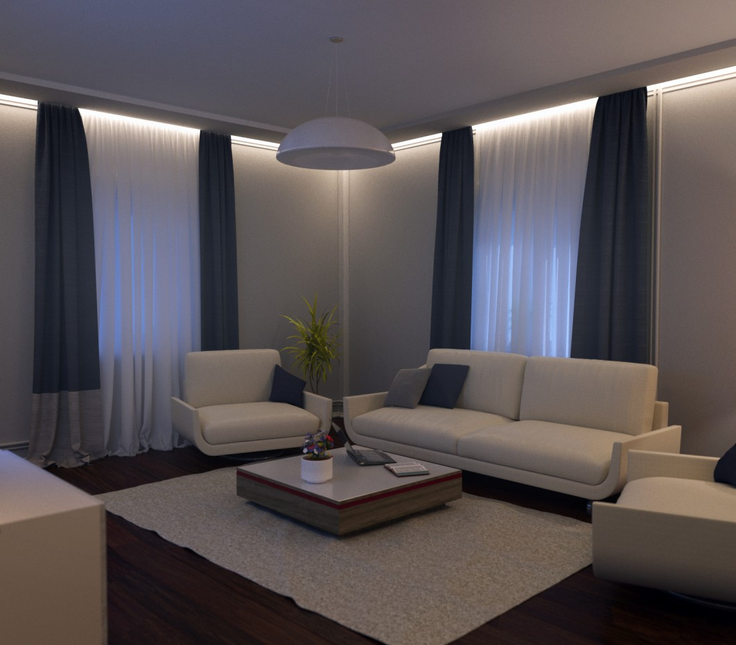 Living room in 3d max corona render image
