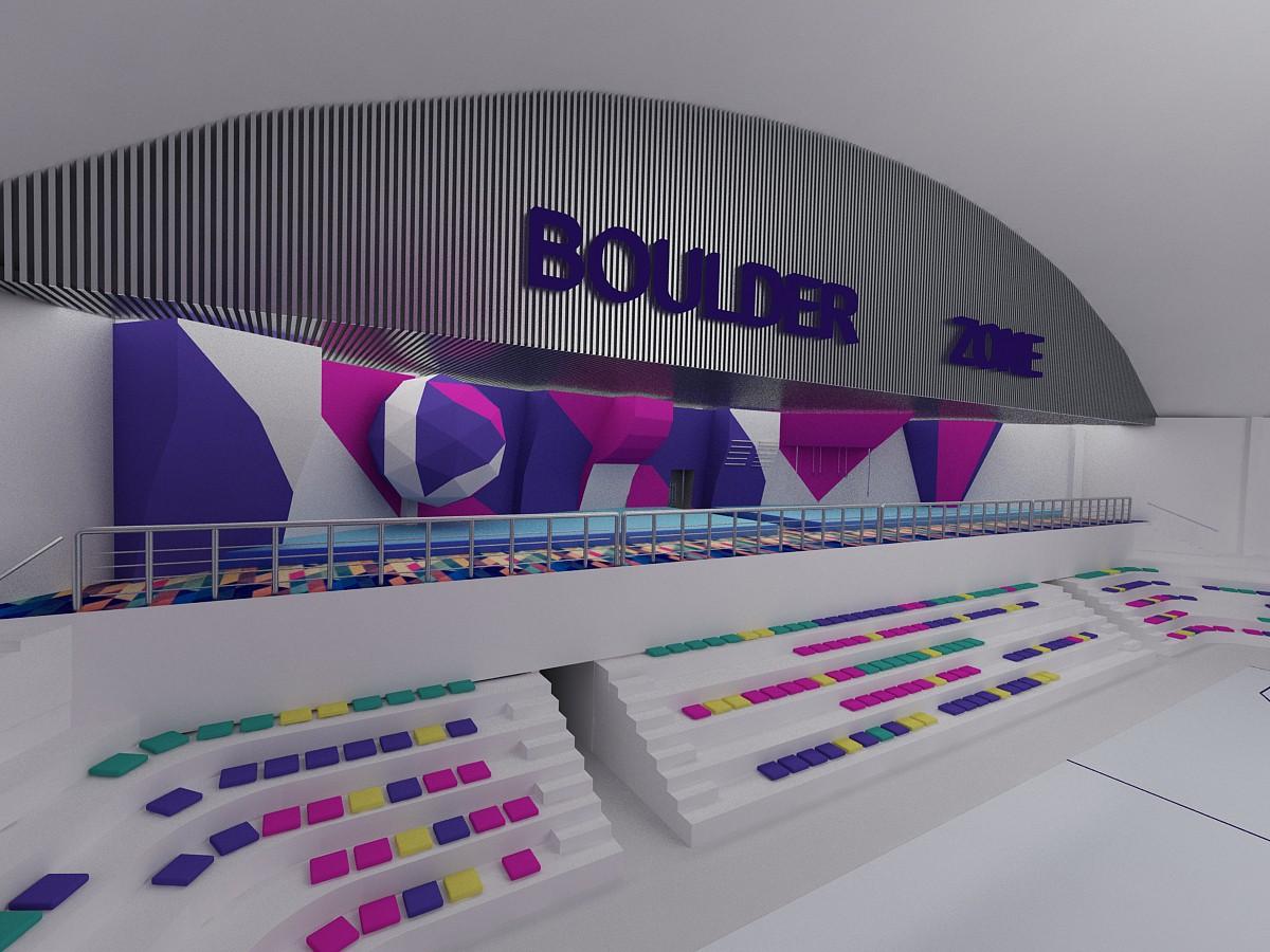 Боулдер зал в 3d max vray изображение