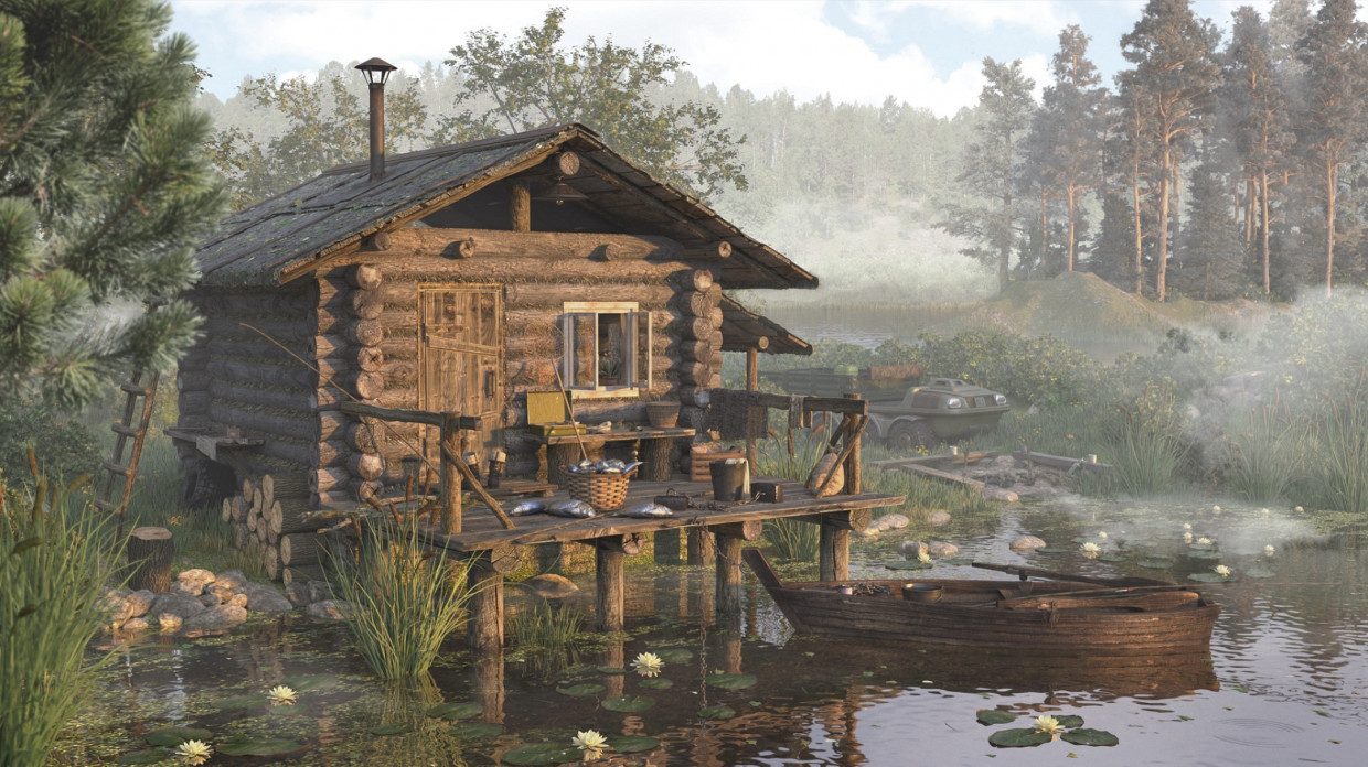 Fisherman's cottage on the Lake in 3d max corona render image