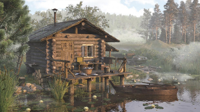 Рыбацкий домик на озере в 3d max corona render изображение