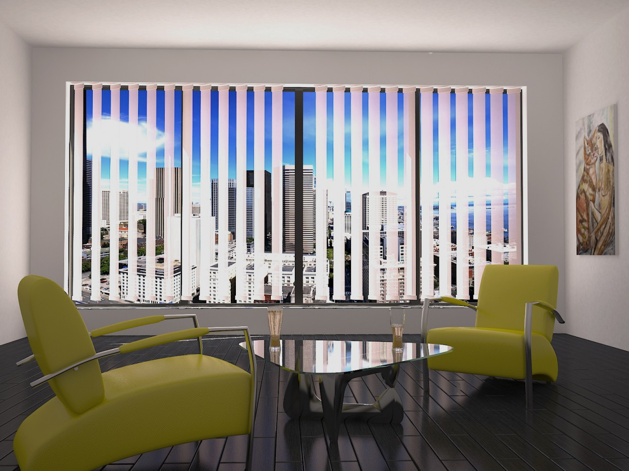 3d visualization of the project in the Room 3d max, render vray of Fly