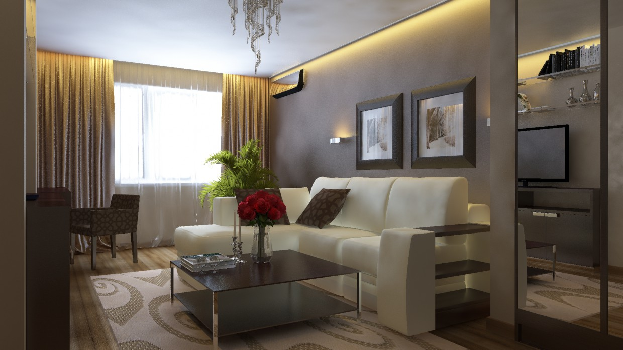 3d visualization of the project in the Interior 3d max, render vray of Sergunok