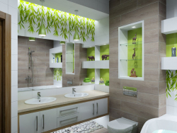 "Interior design of the bathroom in the style of ""Eco"""