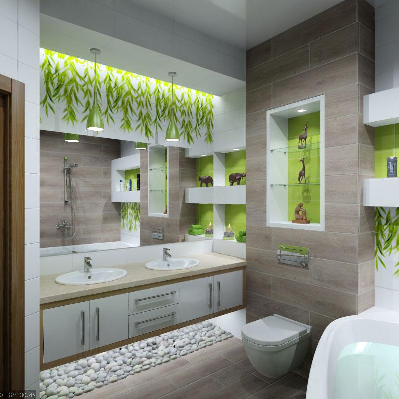 Design de interiores do banheiro no estilo de eco interior visualiza o 3d e design trabalhar - Bagno in spagnolo ...