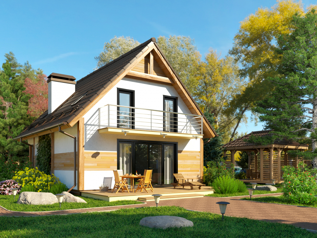 Visualization of the cottage by reference in 3d max corona render image
