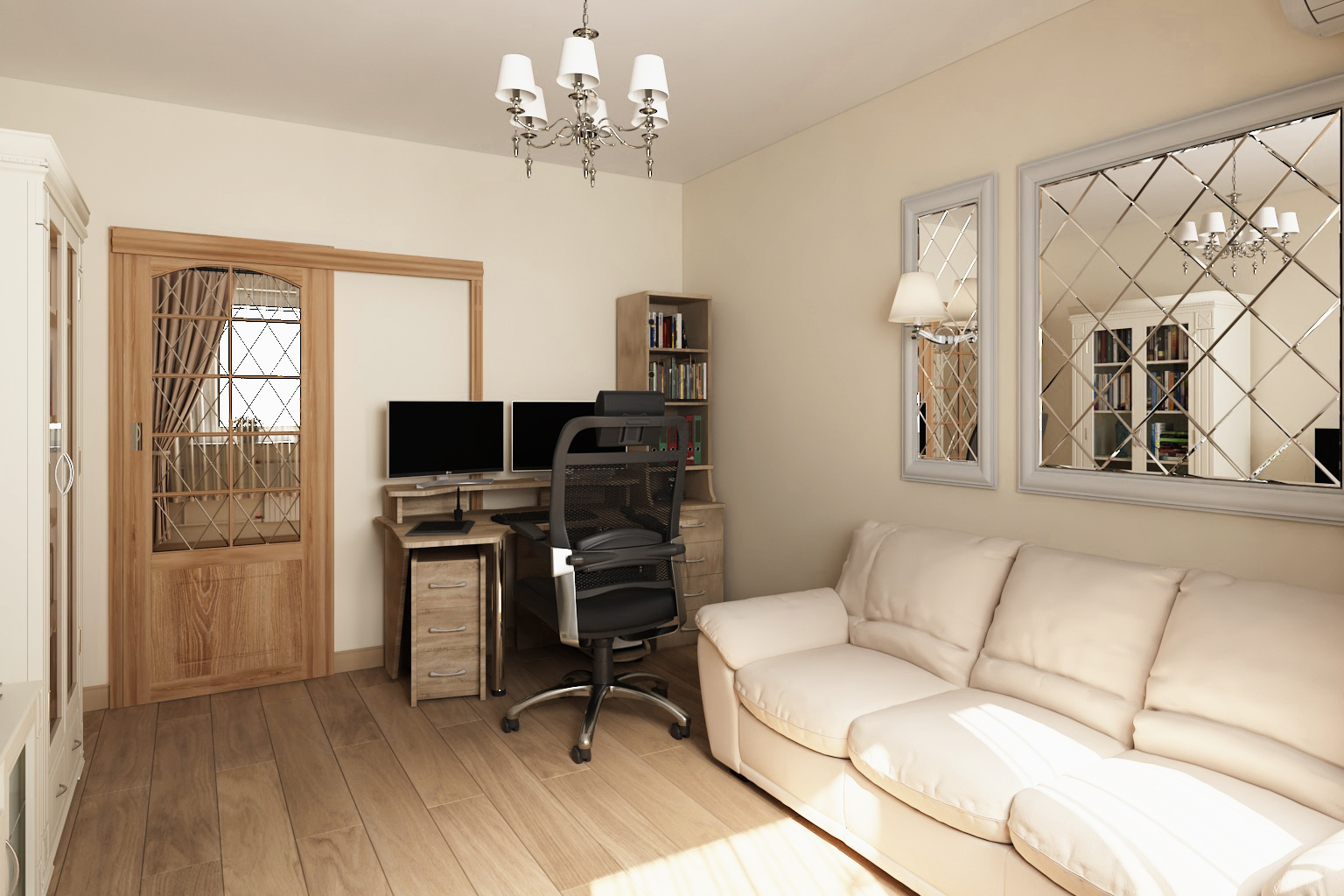 Living room with workplace in 3d max vray 3.0 image