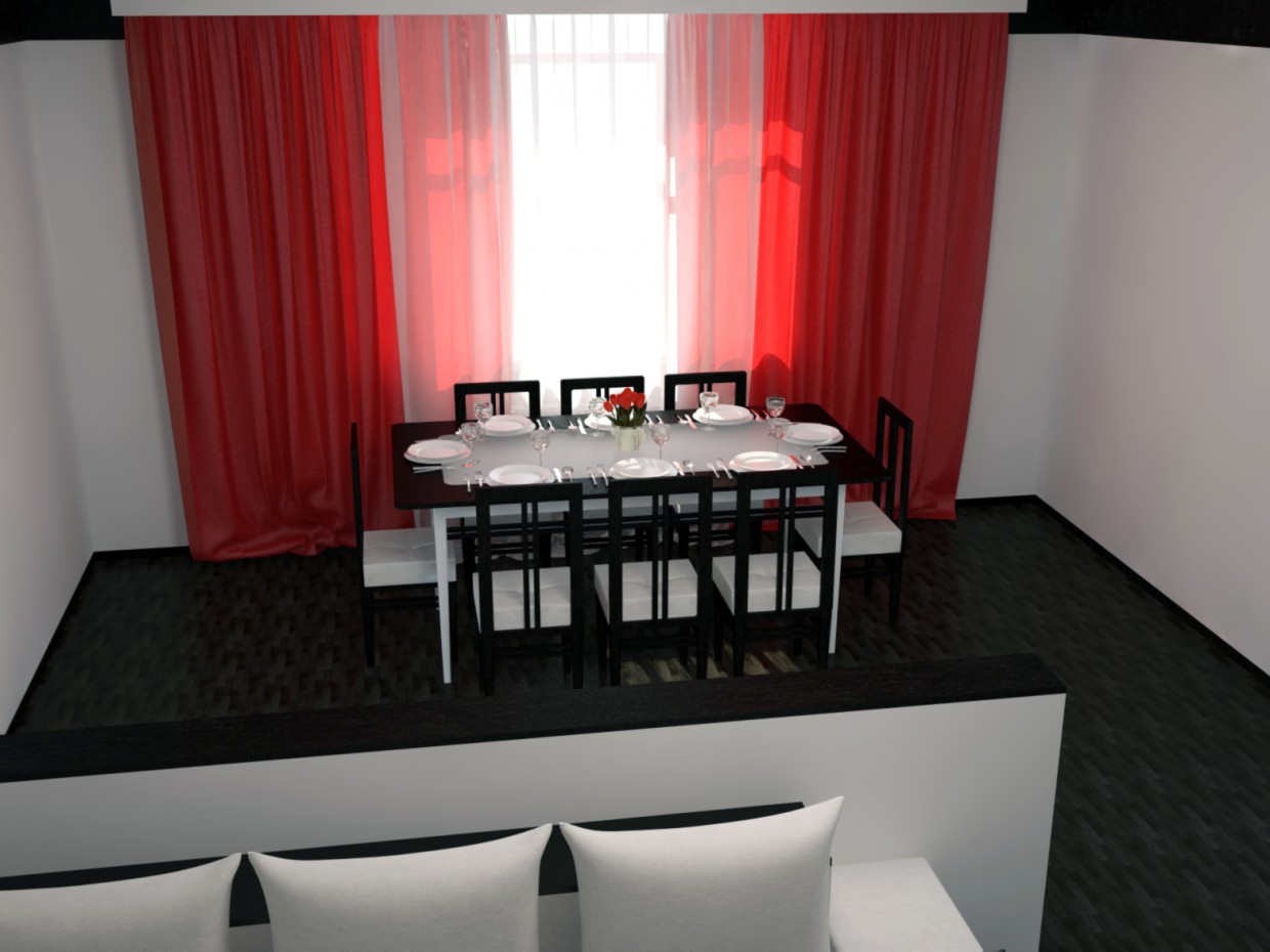 Dining area. Living room with dining area. in 3d max vray image