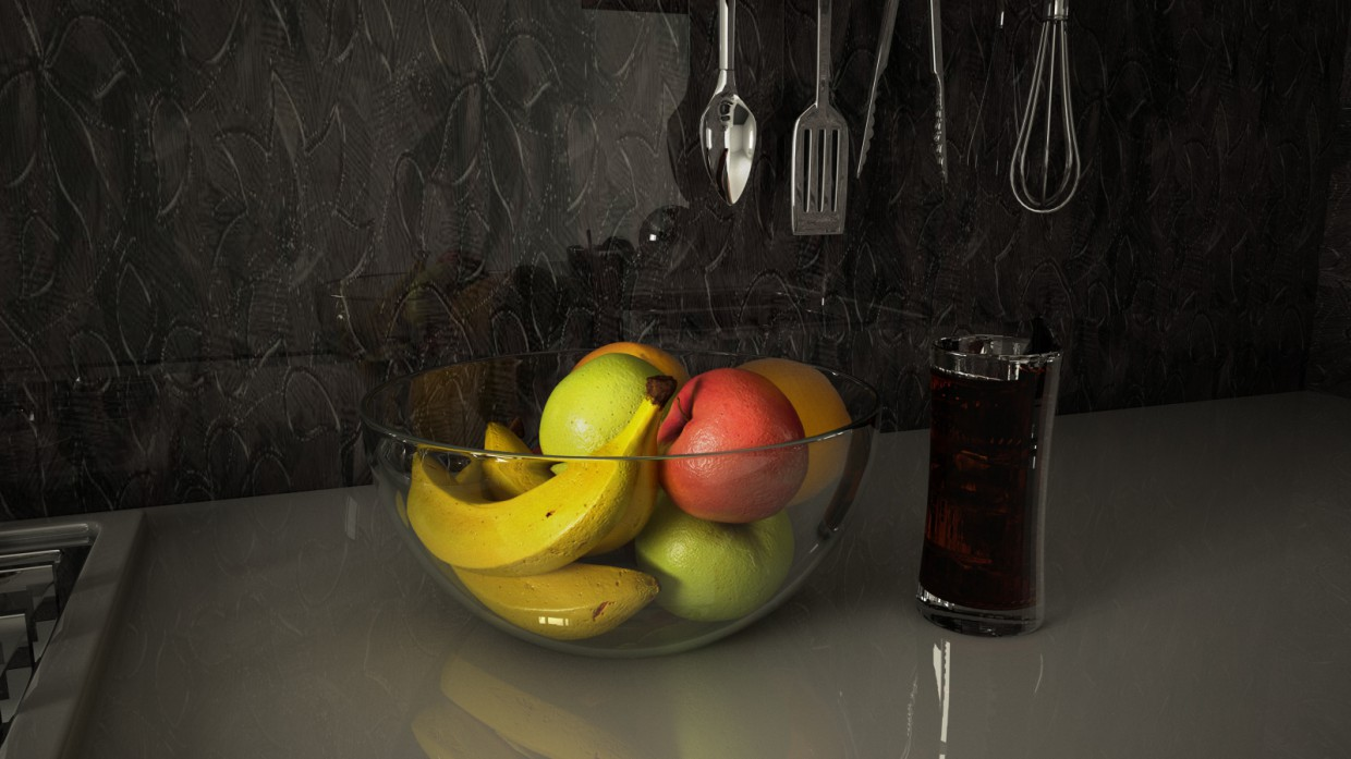 Fruits in the kitchen in Cinema 4d vray 3.0 image