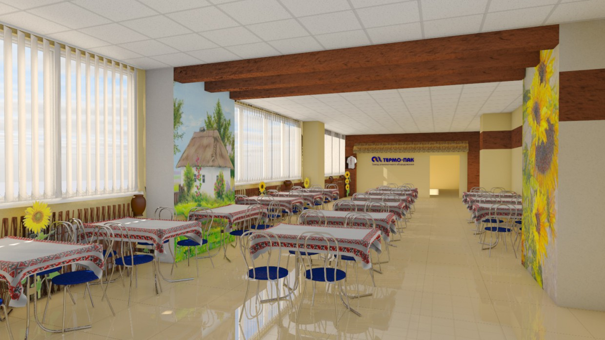 3d visualization of the project in the dining room at a plant Cinema 4d, render Other of molochnik