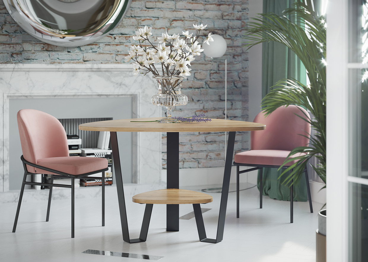 Rendering a table in the living room in 3d max corona render image