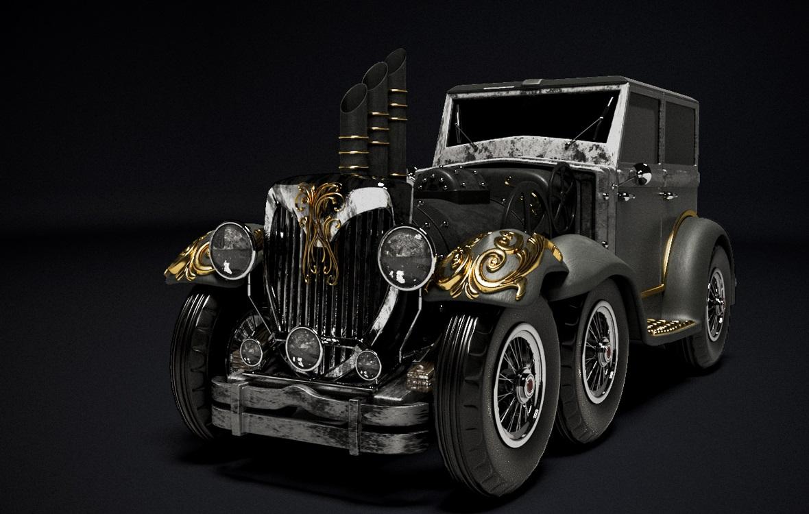 Steam PunK Car in 3d max corona render image