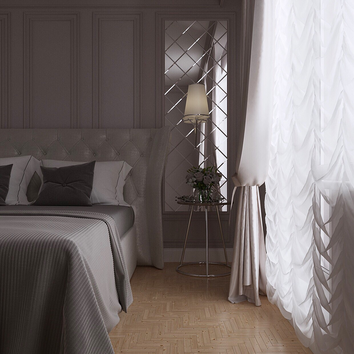 3d visualization of the project in the BEDROOM 3d max, render corona render of ///ARTVIZLAB