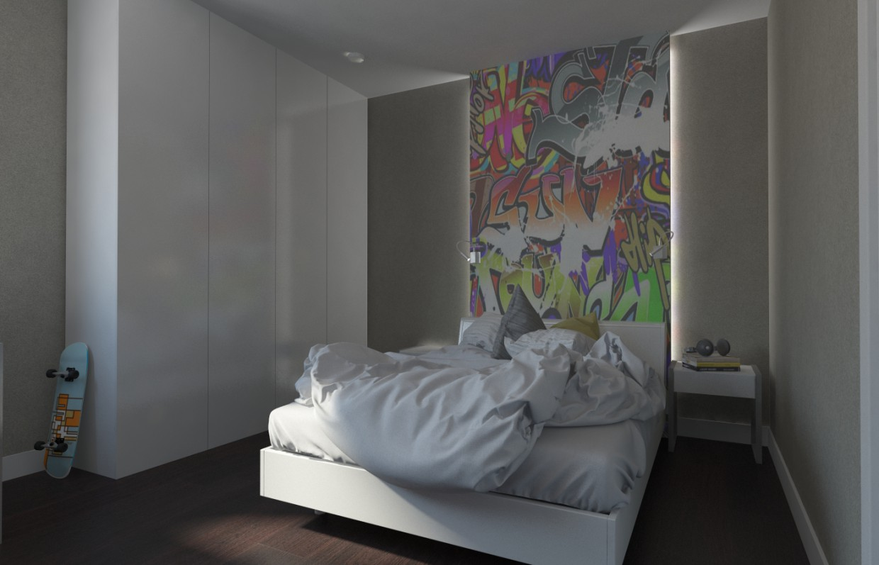 A boy's room in 3d max vray image