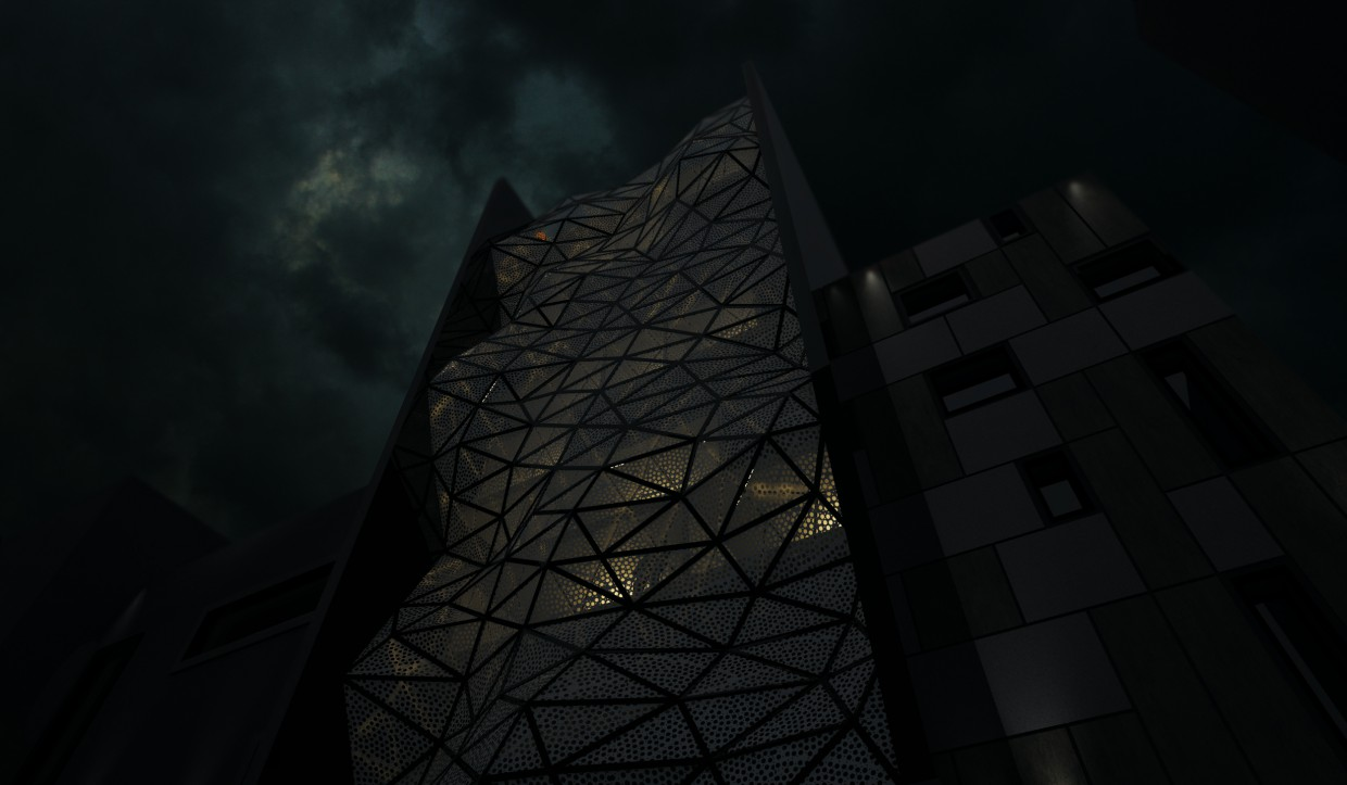 Parametric facade in 3d max vray image