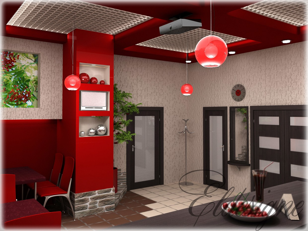 """Cafe """"Rowanberry"""" in 3d max vray image"""