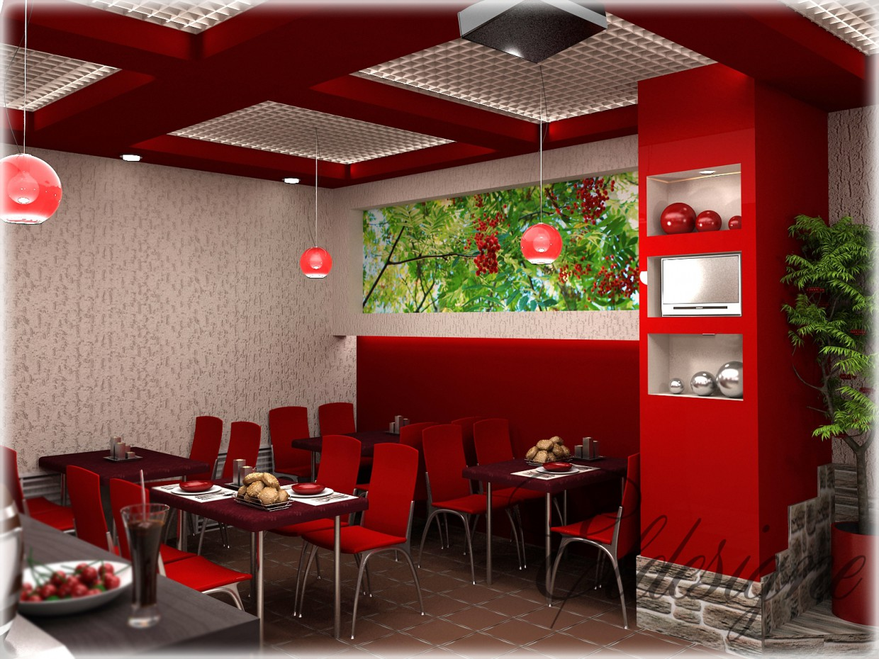 "Cafe ""Rowanberry"" in 3d max vray image"
