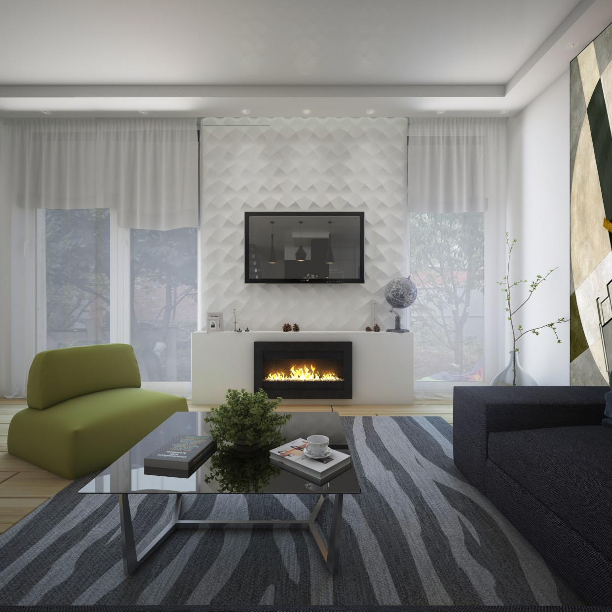 Interior living room in 3d max vray image
