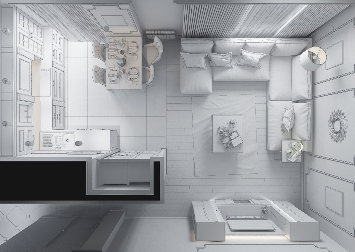 Kitchen and living room  in  3d max   vray  image