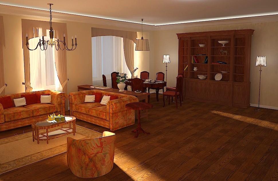 Гостиная в классическом стиле в 3d max vray изображение