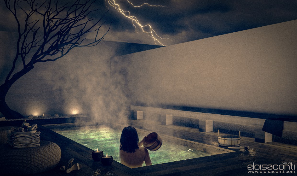 Winter thermal baths... in Cinema 4d vray image