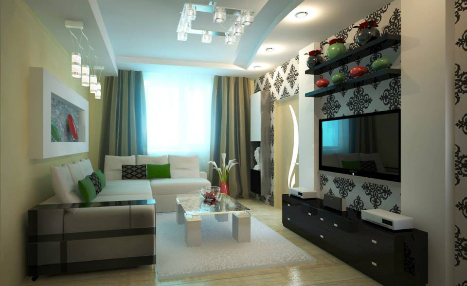 Living room with the Ukrainian spirit in 3d max vray image