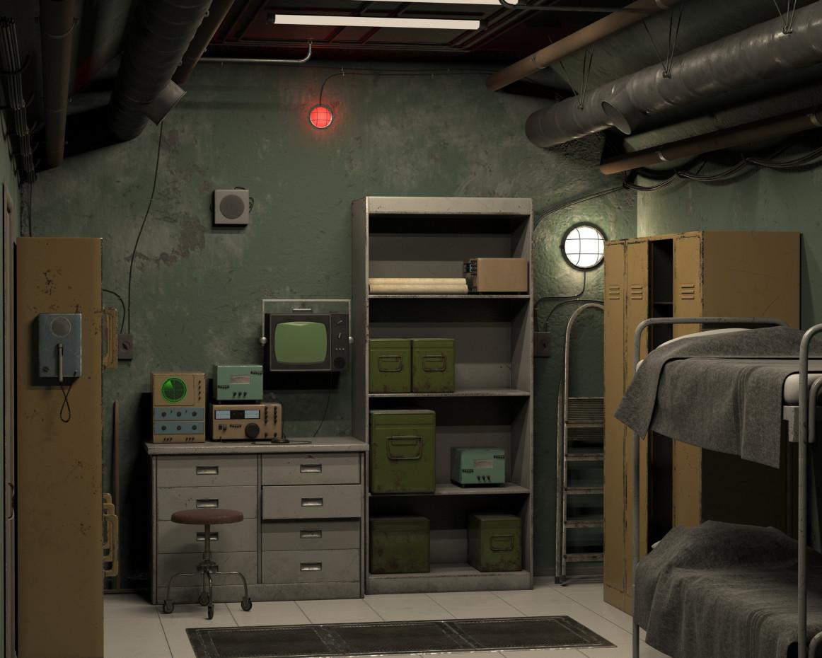 Room in the bunker in 3d max vray 3.0 image