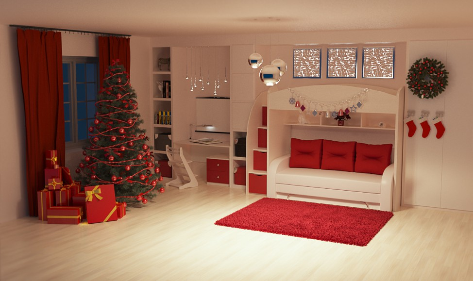 New Year's interior in 3d max corona render image
