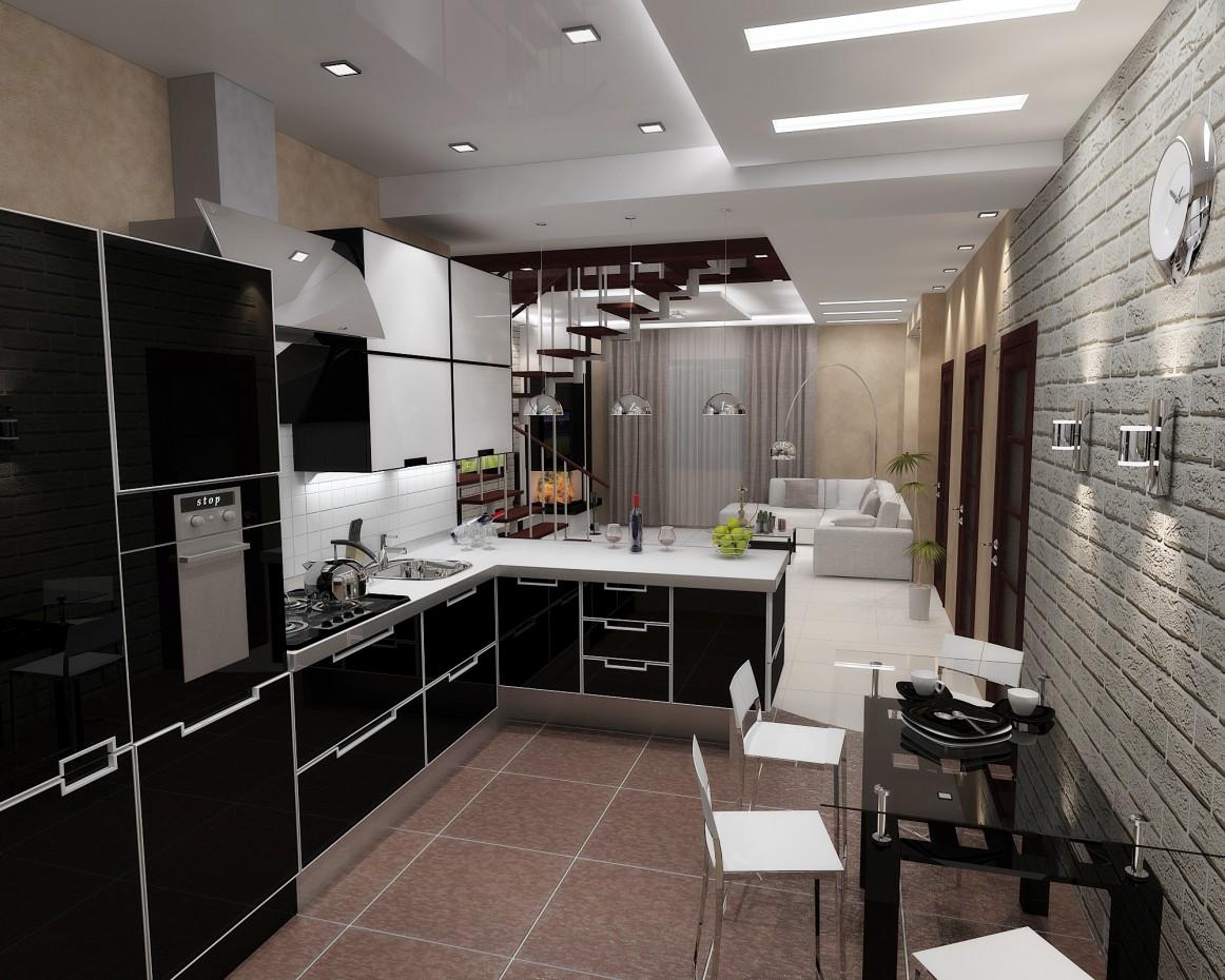 Кухня-гостиная в 3d max vray изображение