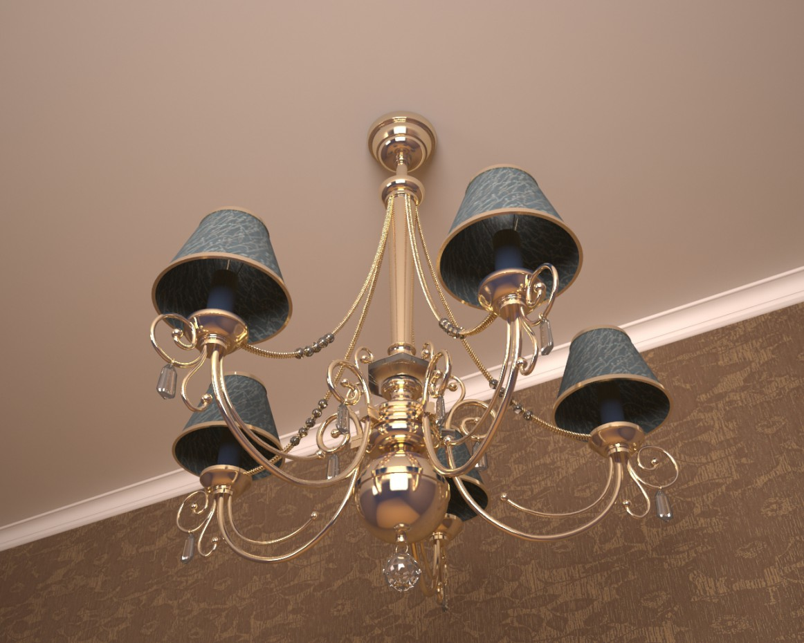 3d items modeling: chandelier in 3d max vray image