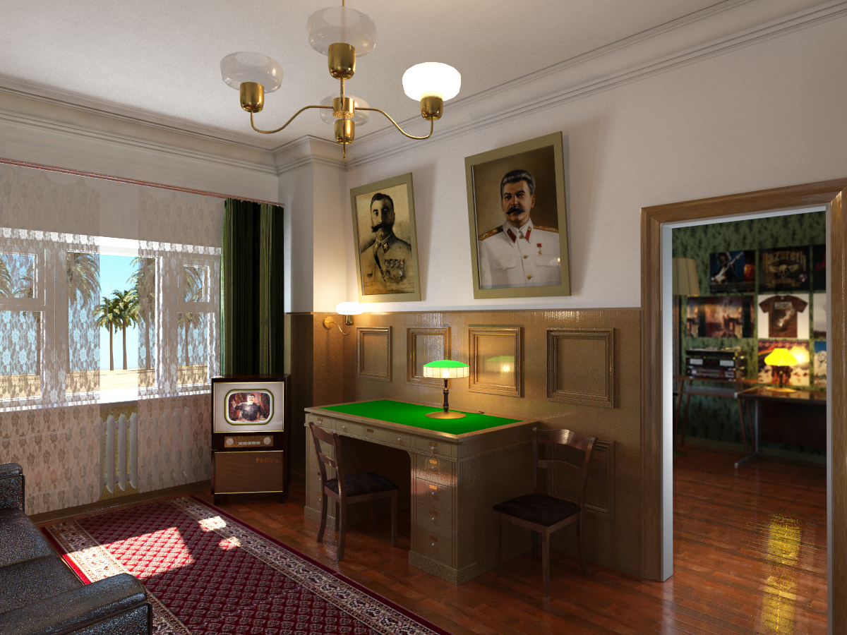 Soviet apartment. in 3d max mental ray image