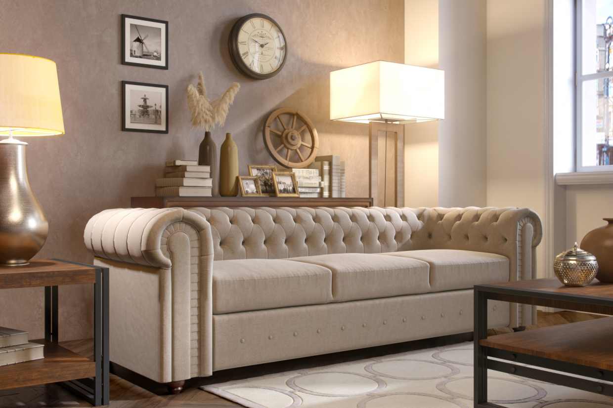 Chesterfield sofa in 3d max corona render image