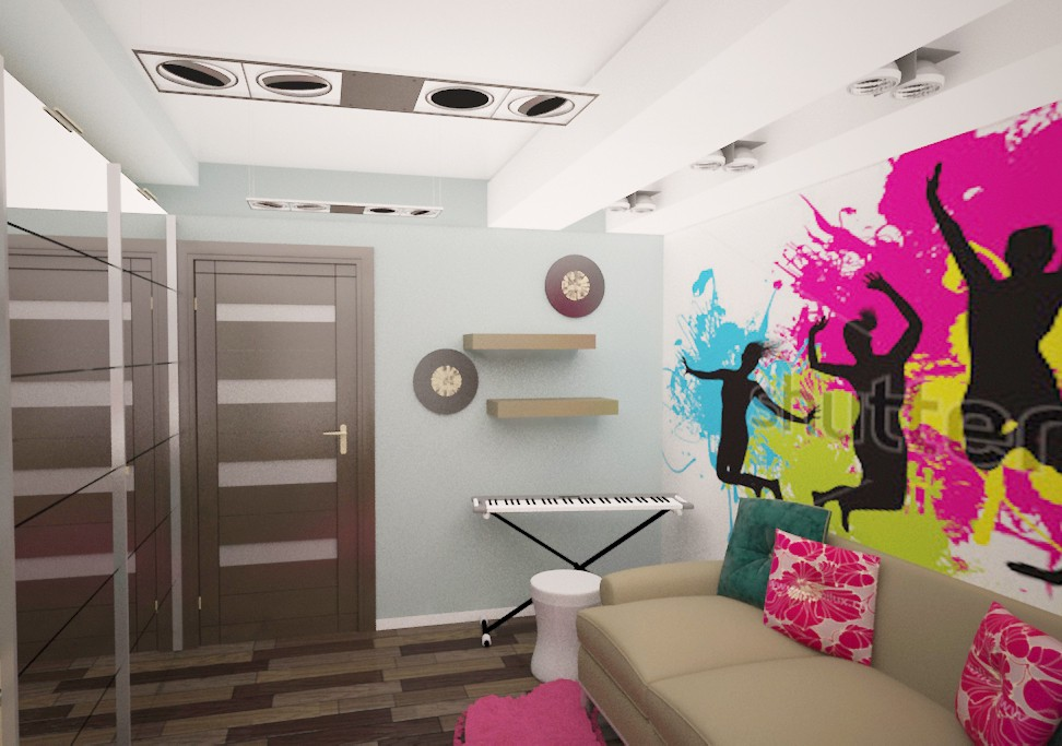 Room for teenage girl in 3d max vray image