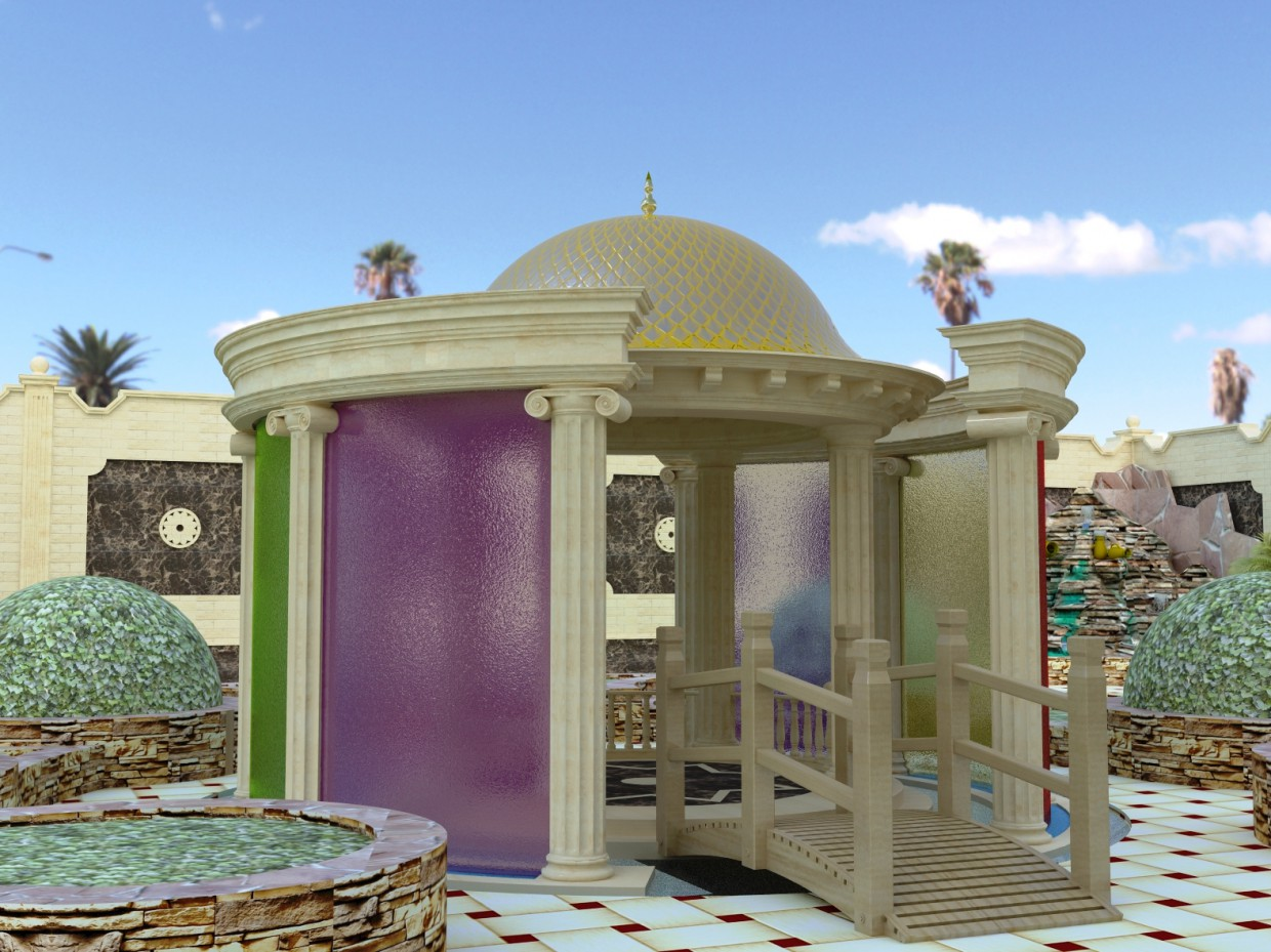 Gazebo in the garden in 3d max vray image