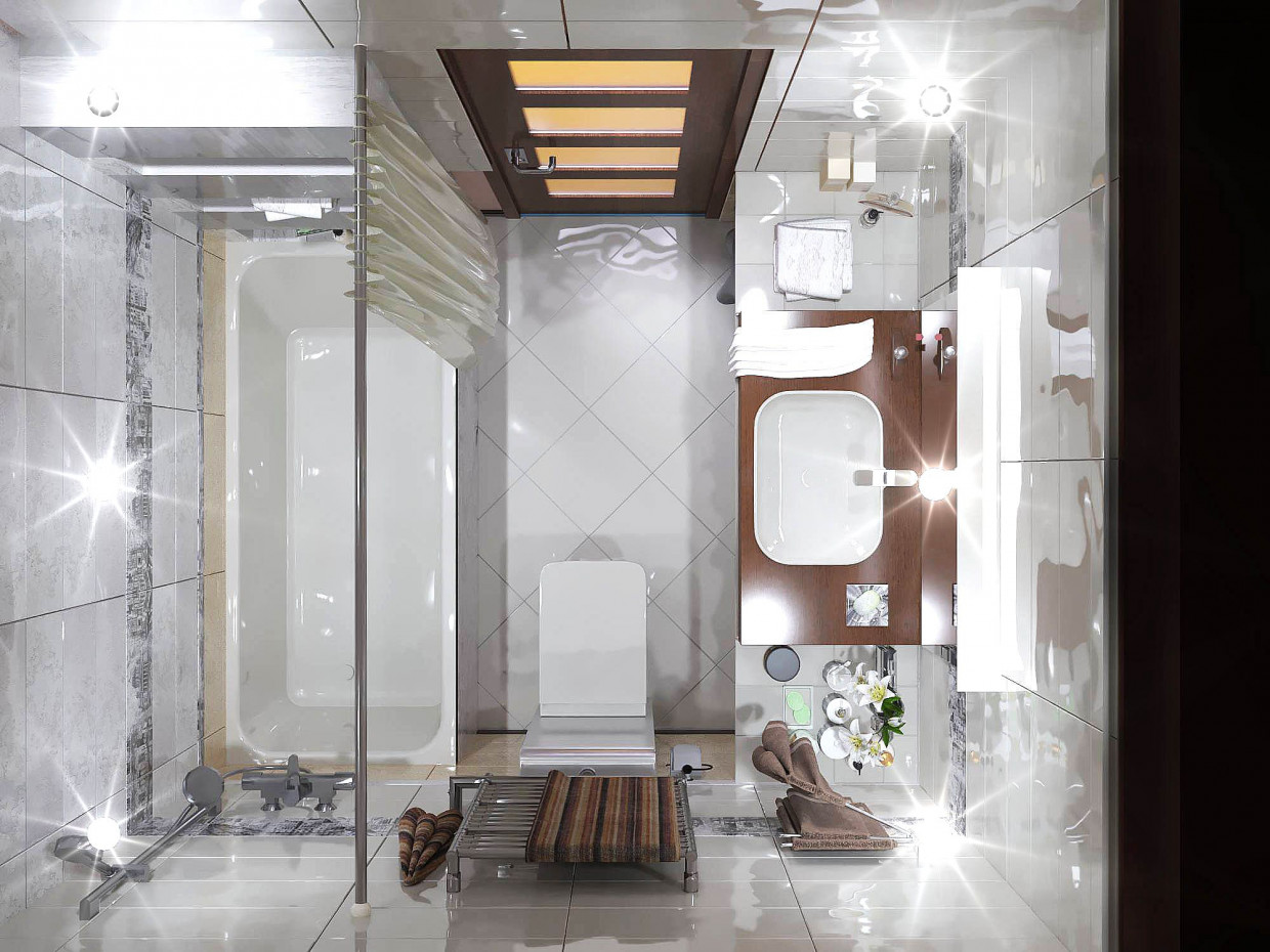 Bathroom in apartment in ArchiCAD corona render image