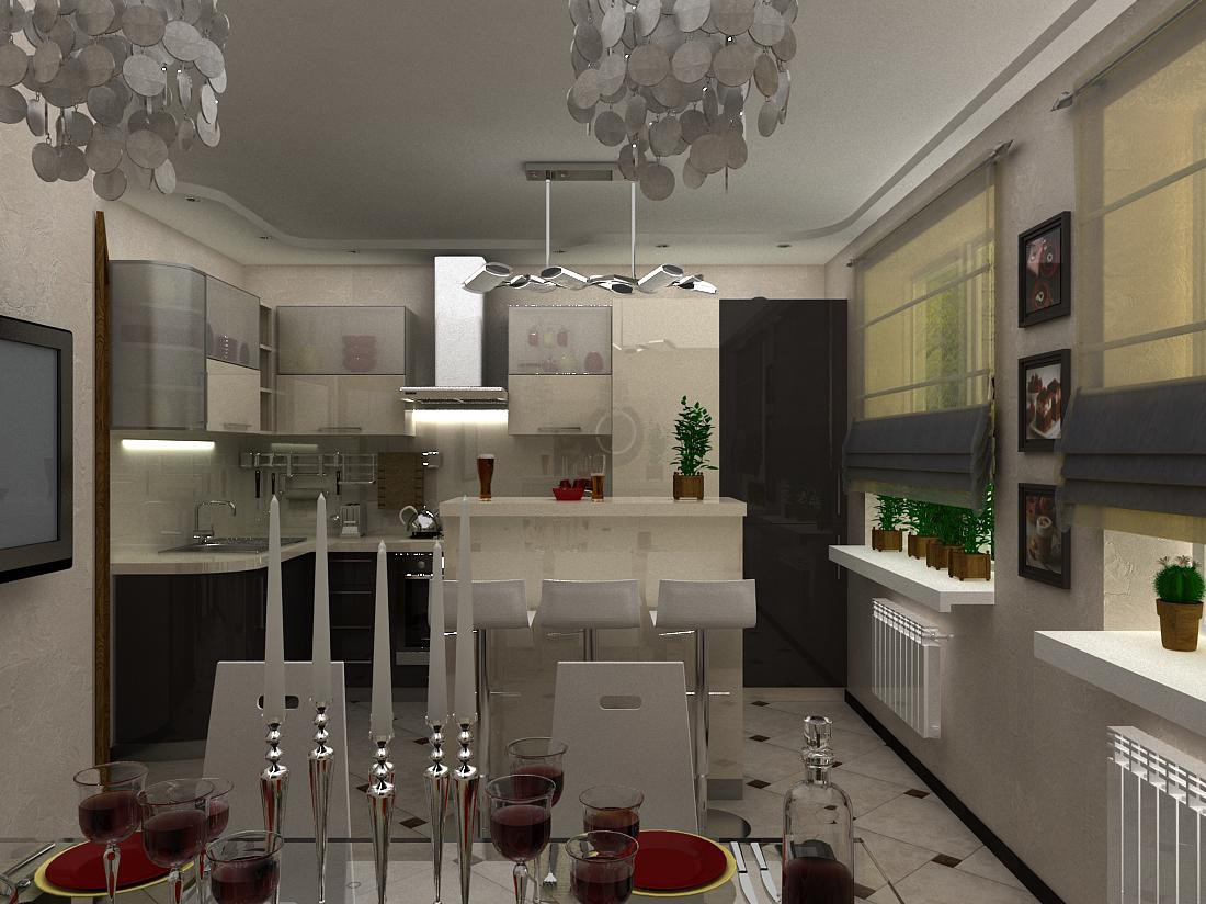 Kitchen and dining room for a young family  in  3d max   vray  image