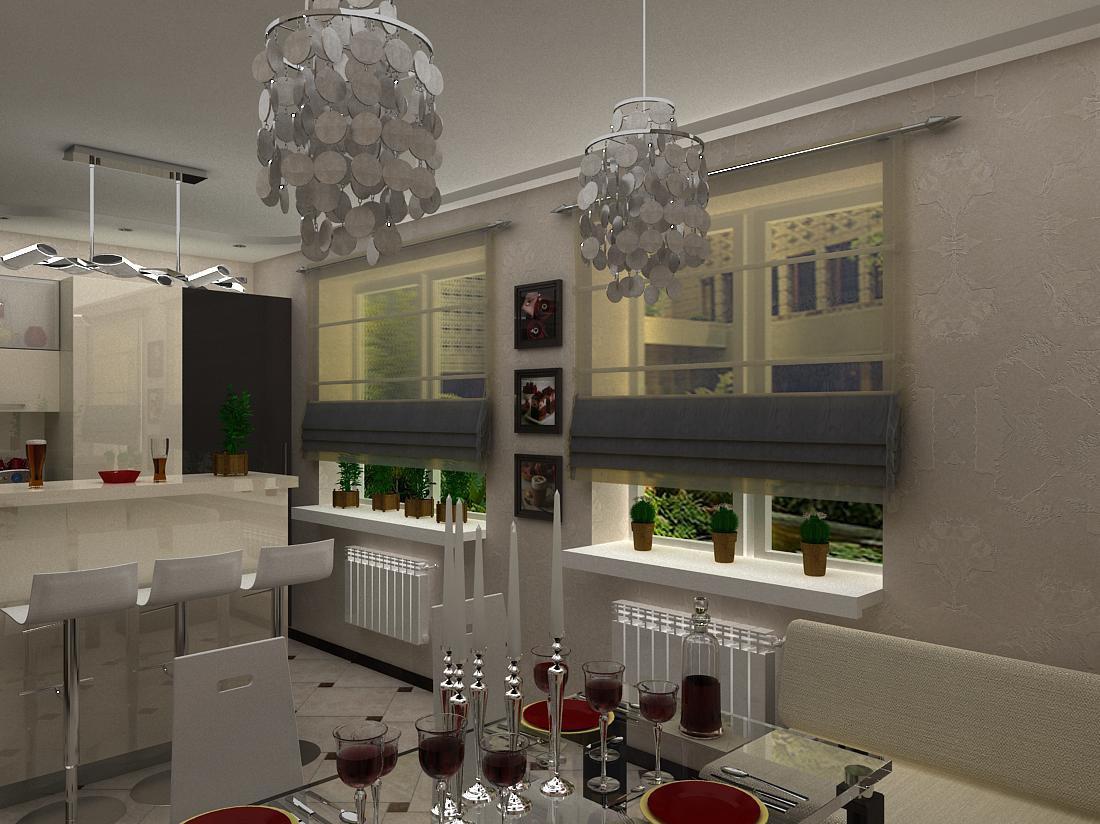 Кухня-їдальня для молодої сім'ї в 3d max vray зображення
