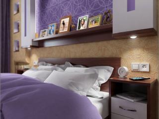 Chernigov'da küçük bir yatak odası için iç tasarım projesi