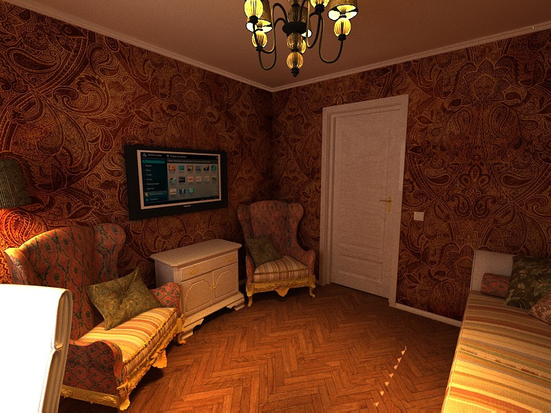 Modern Victorian style bedroom in 3d max vray image