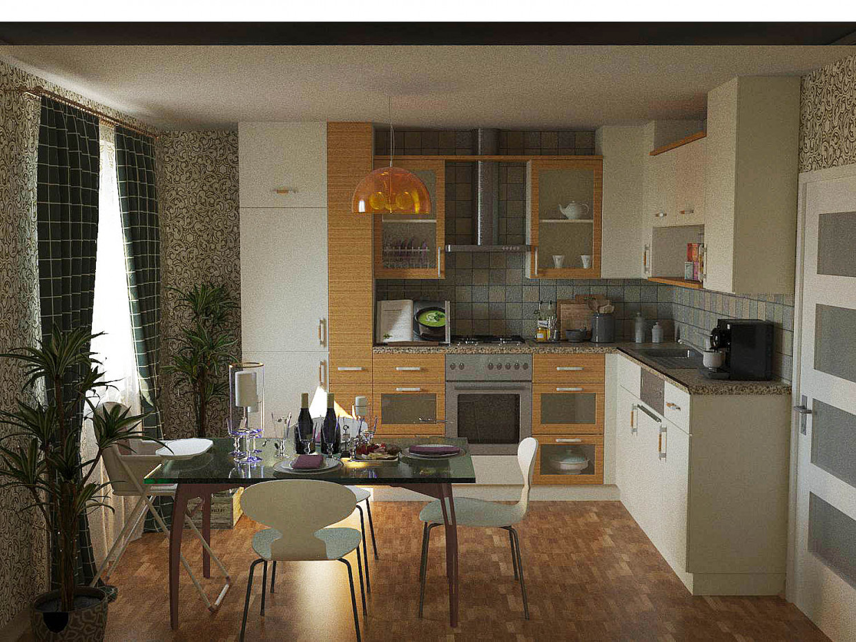 The kitchen in the apartment model  3d visualization and design