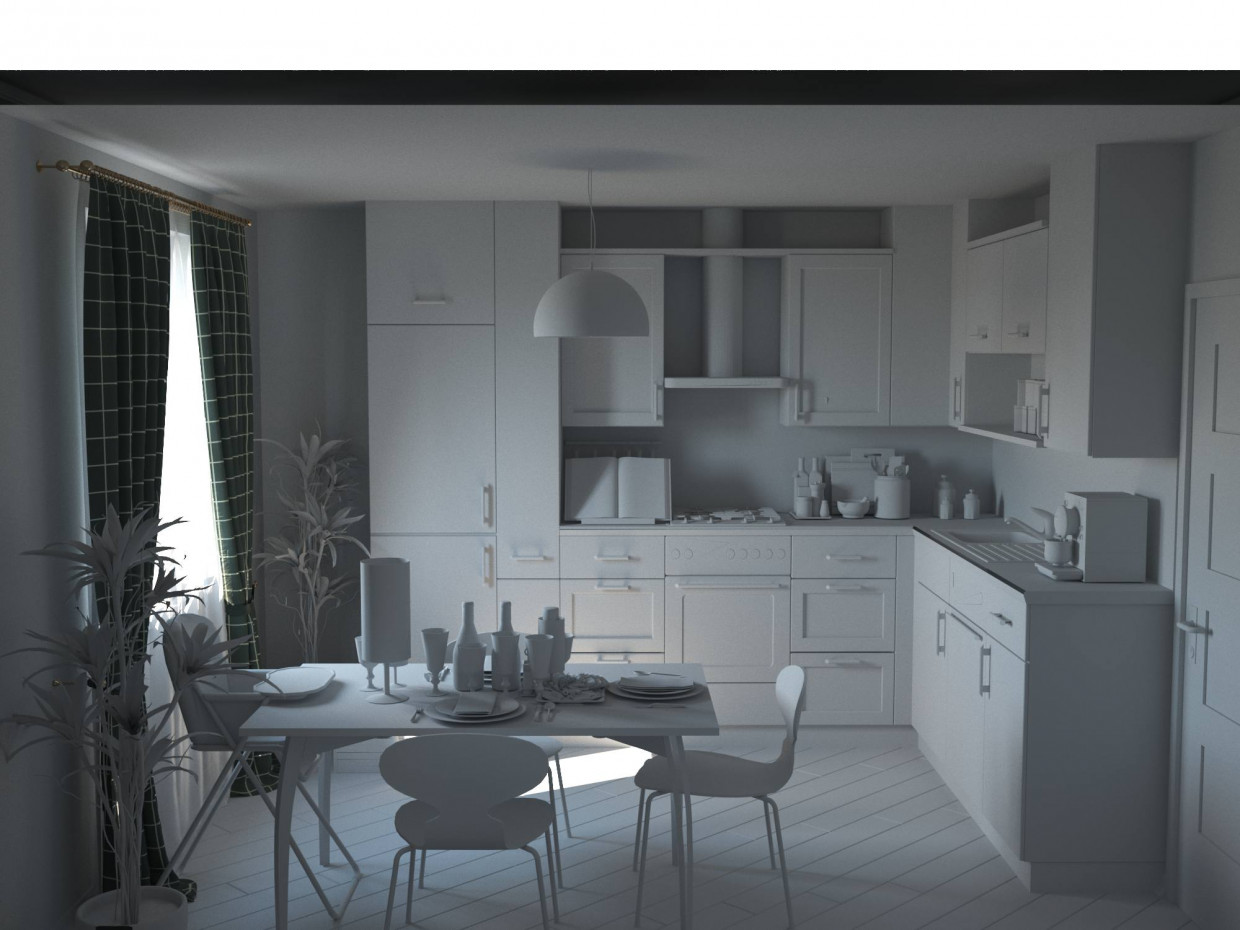 The kitchen in the apartment model style eclectic design for Apartment model