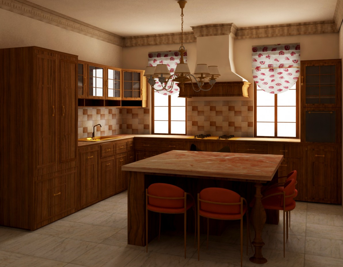 English-style kitchen in 3d max vray image