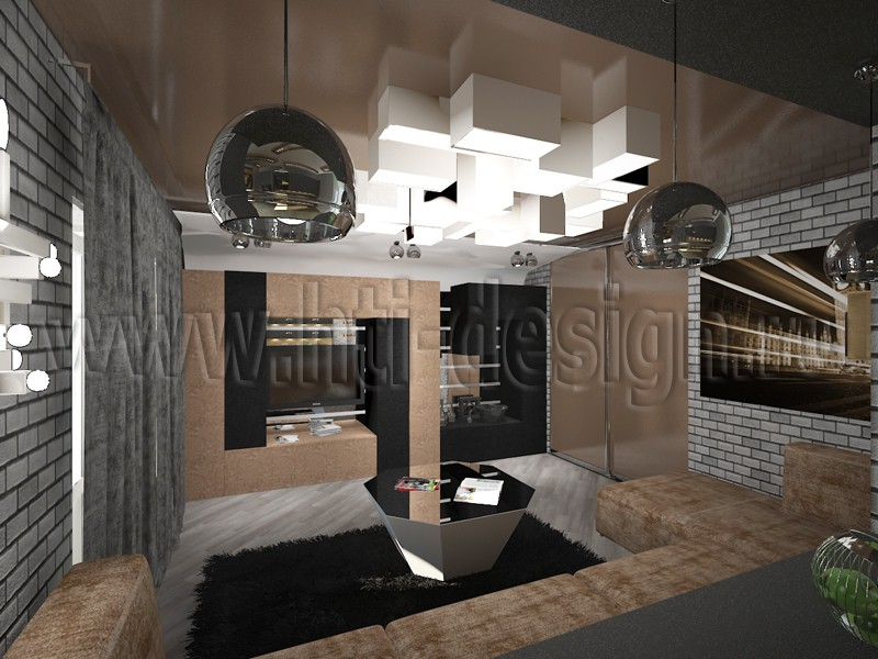 Neobrutalizm style interior  in  3d max   vray  image