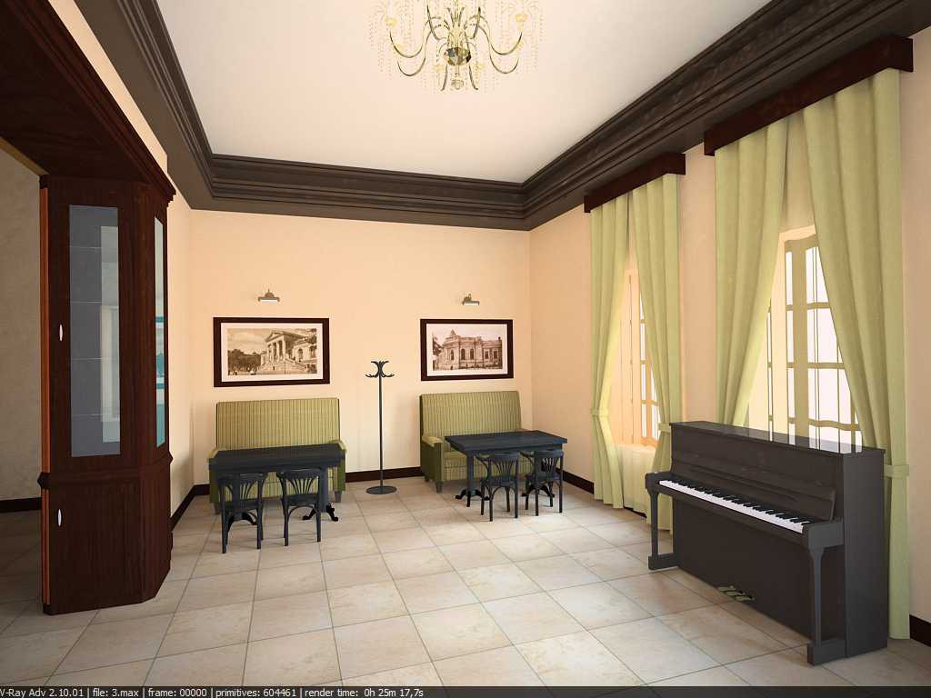 cafe interior in 3d max vray image