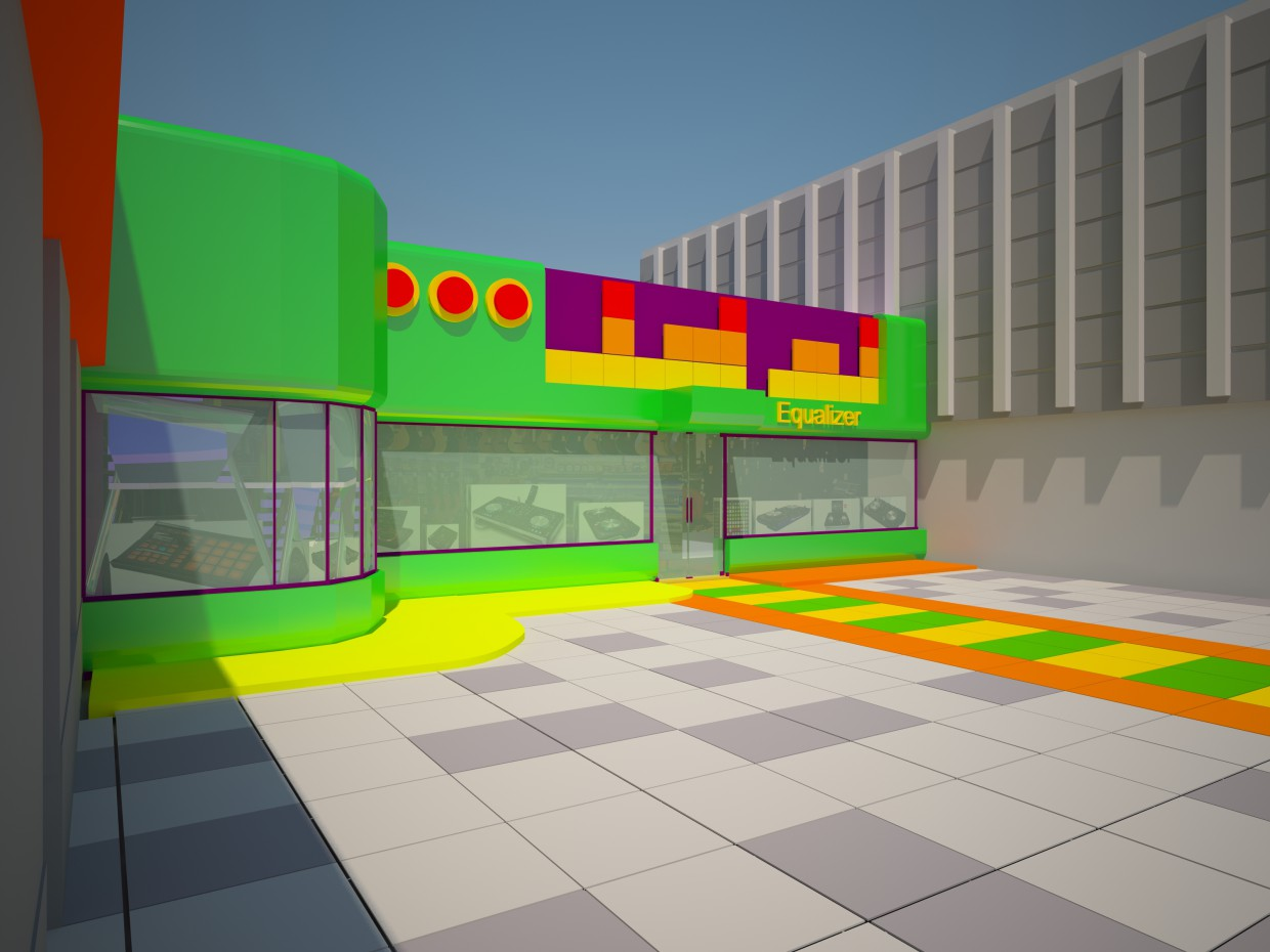 """Music store """"Equalizer"""" project in 3d max vray image"""
