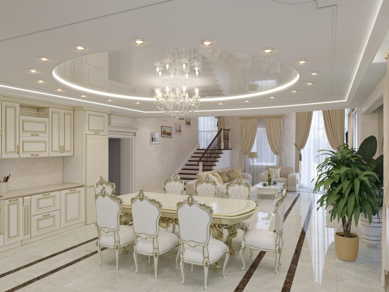 Кухня Гостиная в 3d max corona render изображение