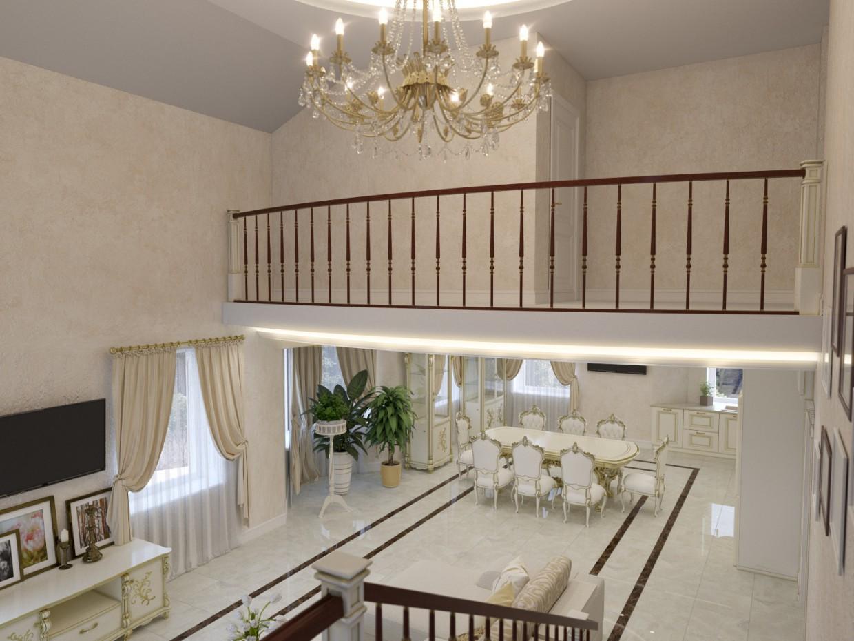 imagen de Cocina sala de estar en 3d max corona render