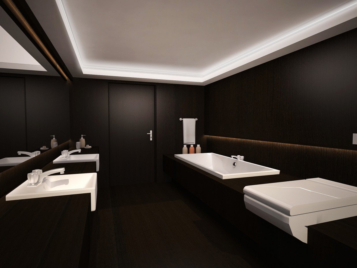 3d visualization of the project in the The bathroom in the style of Armani 3d max, render vray of Катерина