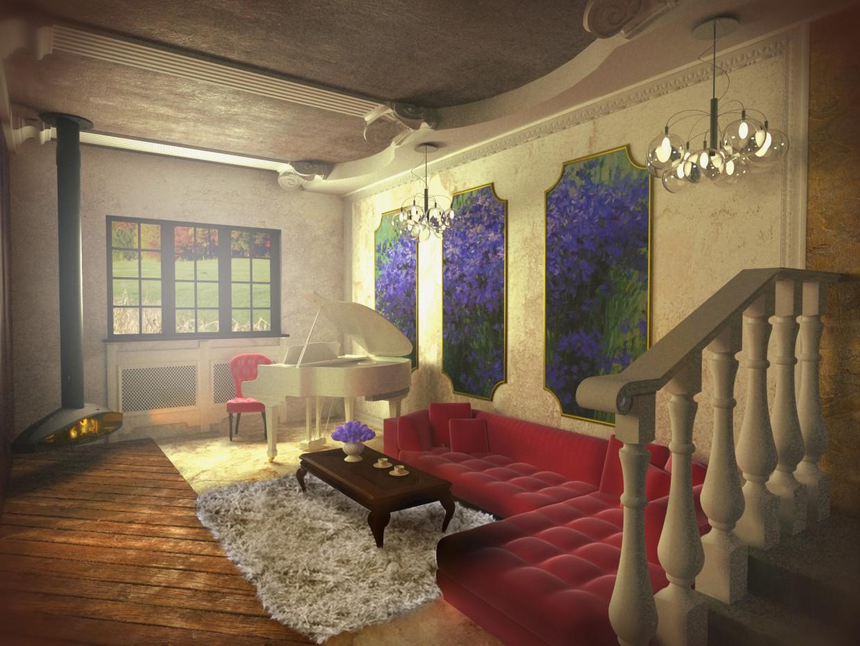 Интерьер гостинной в 3d max vray изображение