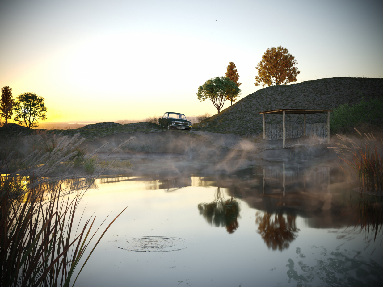 On the lake in 3d max corona render image